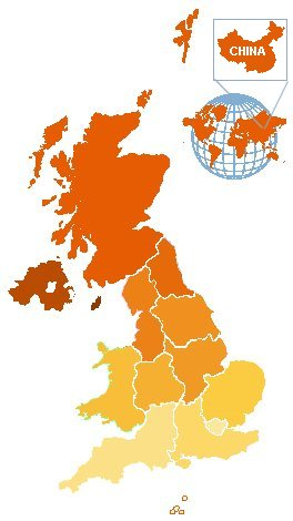 Map of UK showing clickable Regions